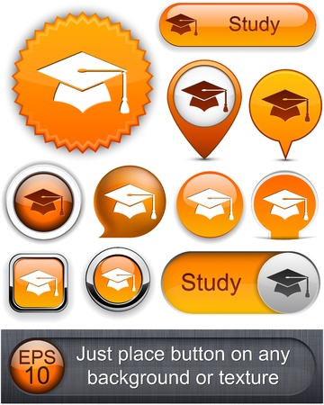 Education web orange buttons for website or app.   Stock Vector - 12574831