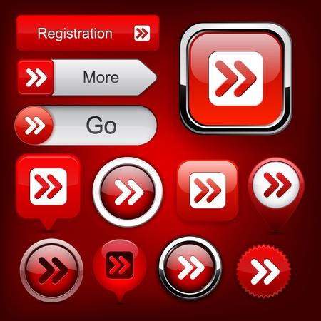 Forward red design elements for website or app.   Vector