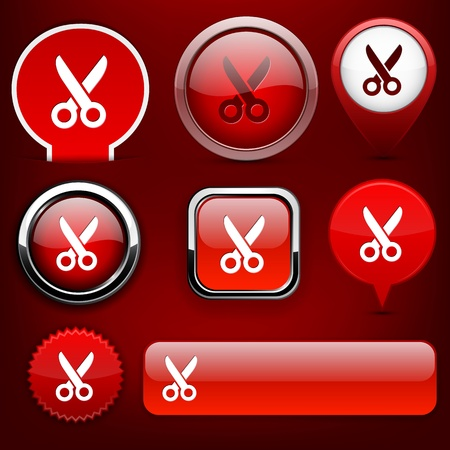 Cut red design elements for website or app.    Vector