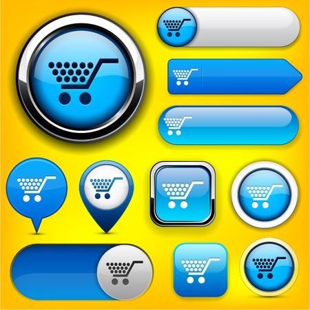onlineshop: Buy blue design elements for website or app. Vector eps10.