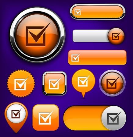 Check mark orange design elements for website or app. Stock Vector - 12574834