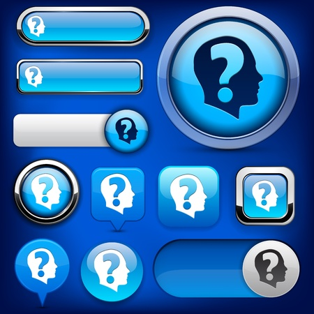 Ask blue design elements for website or app. Stock Vector - 12575047