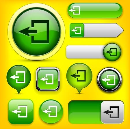 Logout green design elements for website or app.   Vector