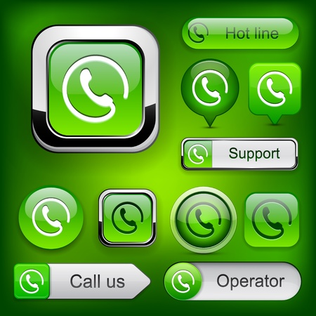 Call green web buttons for website or app.  Vector