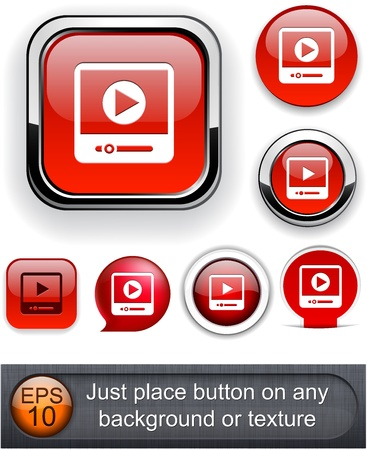 rounded square: Video web buttons for website or app.   Illustration
