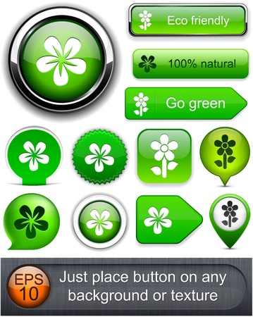 Flower web buttons for website or app.  Stock Vector - 12758056