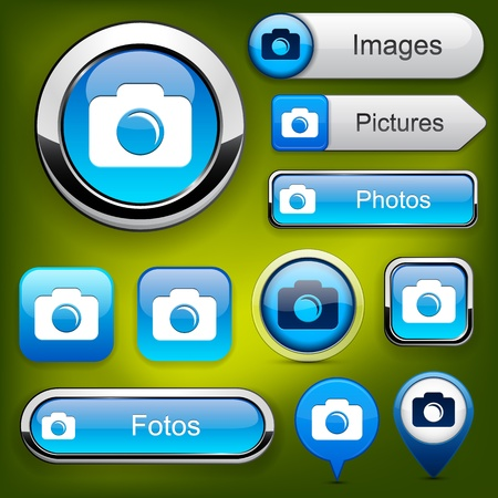 Photo blue design elements for website or app.