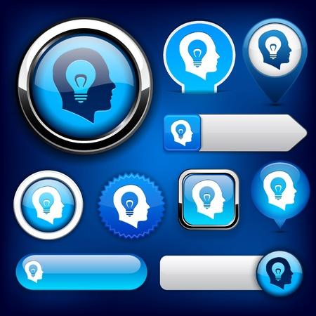blue bulb: Idea blue design elements for website or app.