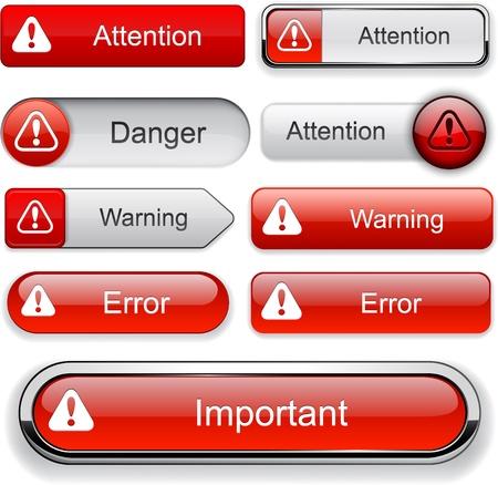 Attention red design elements for website or app. Vector
