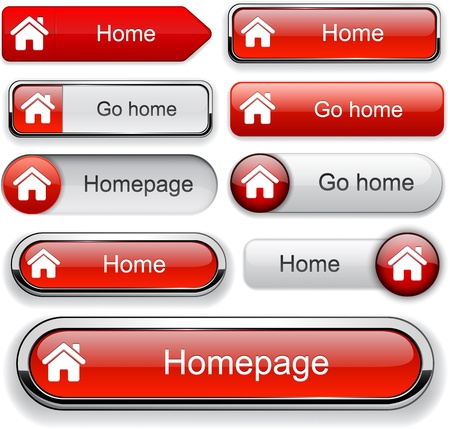 Home red design elements for website or app. Stock Vector - 12757926