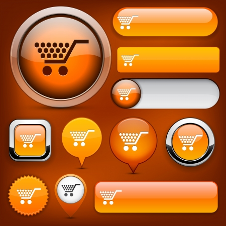 add to shopping cart icon: Buy orange design elements for website or app.