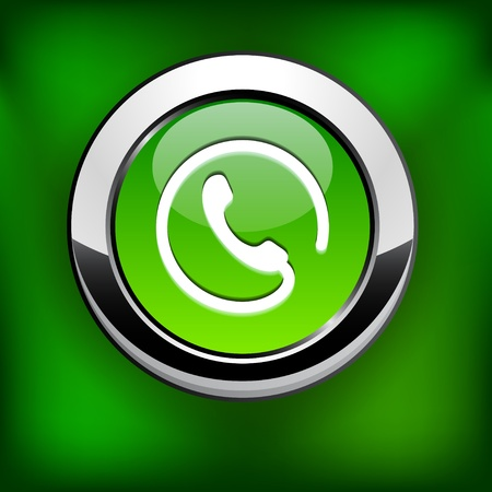 Phone green round button for website or app.   Vector