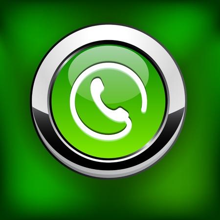 Telefoon groene ronde knop voor de website of app.