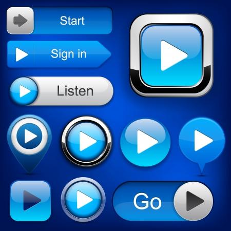 divertirsi: Gioca pulsanti web blu per il sito web o un'applicazione. Vettoriali