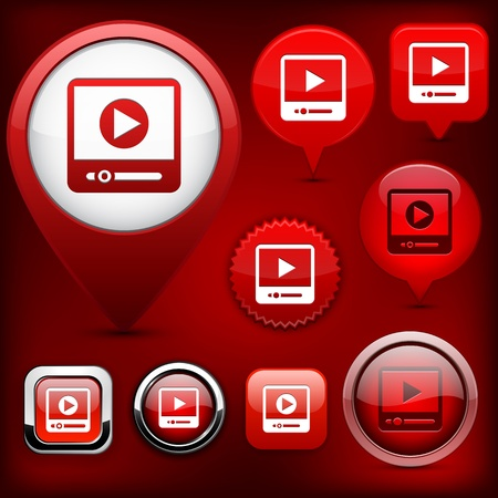 Video web buttons for website or app   Vector