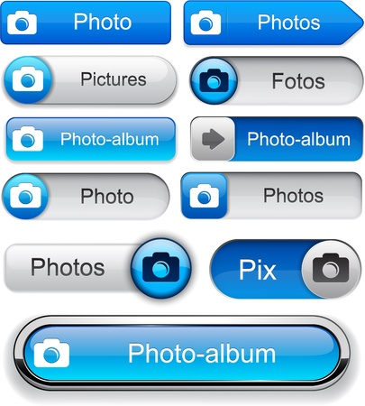 digital camera: Photo blue design elements for website or app