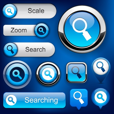 search button: Search blue design elements for website or app