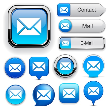 email us: Mail blue design elements for website or app   Illustration