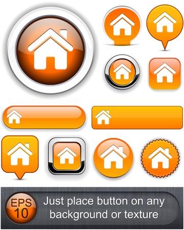Home orange design elements for website or app  Vector