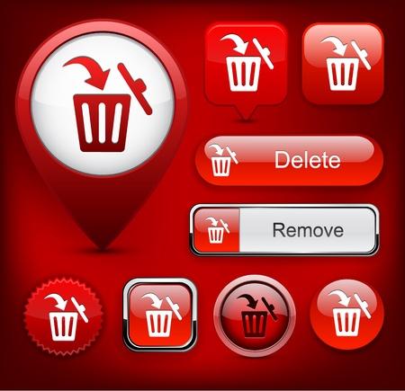 Dustbin red design elements for website or app  Vector