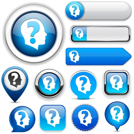 Ask blue design elements for website or app Stock Vector - 12758186