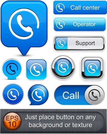 Call blue web buttons for website or app   Vector