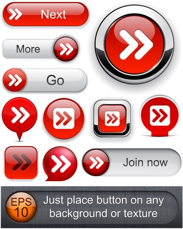 interface buttons: Forward red design elements for website or app.