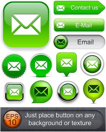 E-Mail green design elements for website or app. Vektoros illusztráció