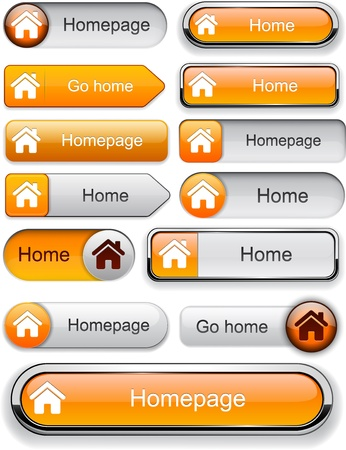 Home orange design elements for website or app.   Vector