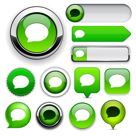 Speech bubble green design elements for website or app.  Vector