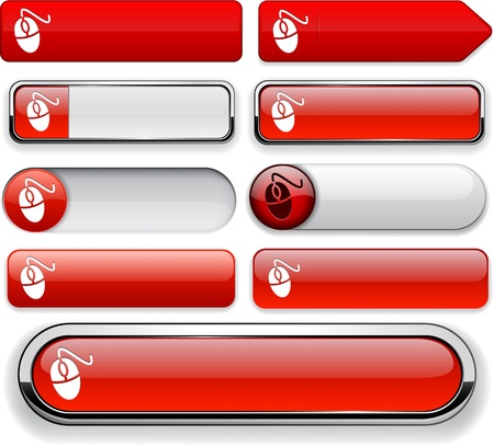 Mouse red design elements for website or app.   Vector