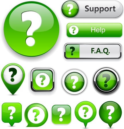 question icon: FAQ green web buttons for website or app.  Illustration