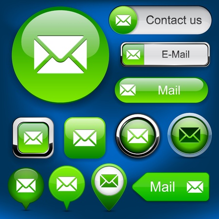 E-Mail green design elements for website or app.  Vector