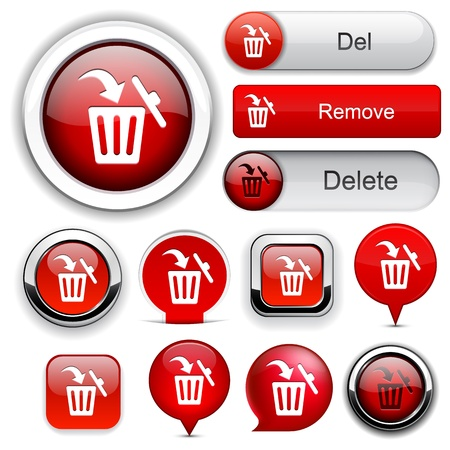 Dustbin red design elements for website or app.