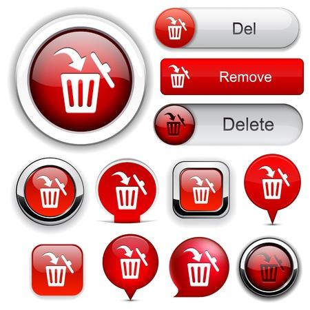 cesto basura: Los elementos de diseño de cubo de basura de color rojo para el sitio web o aplicación. Vectores