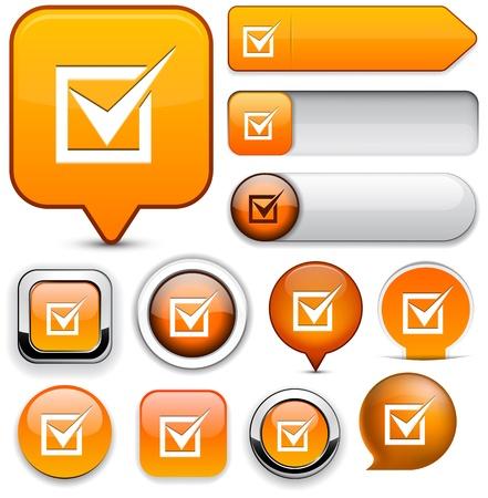 Check mark orange design elements for website or app.   Stock Vector - 12758654