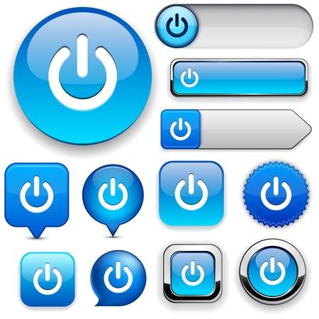power button: Power blue design elements for website or app.