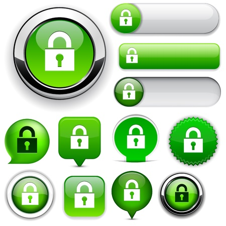 icono candado: Proteger los elementos de dise�o ecol�gico para el sitio web o aplicaci�n. Vectores