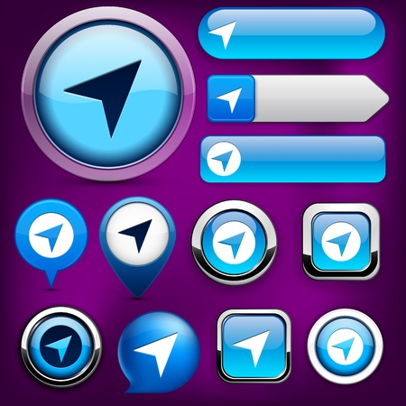 Navigation blue design elements for website or app.  Vector