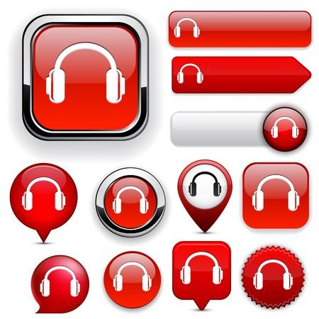 botones musica: Auriculares rojos elementos de dise�o de sitio web o aplicaci�n. Vectores