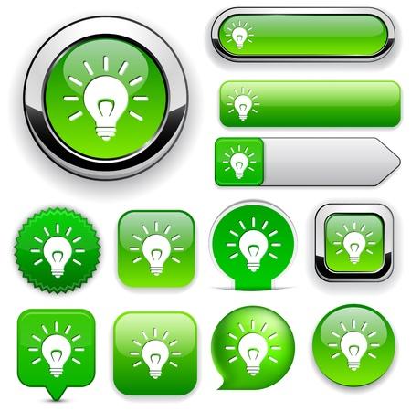 Luz elementos bombilla de diseño verde para el sitio web o aplicación.
