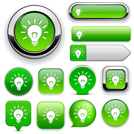 rounded circular: Light bulb green design elements for website or app.