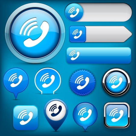 phone button: Call blue design elements for website or app.