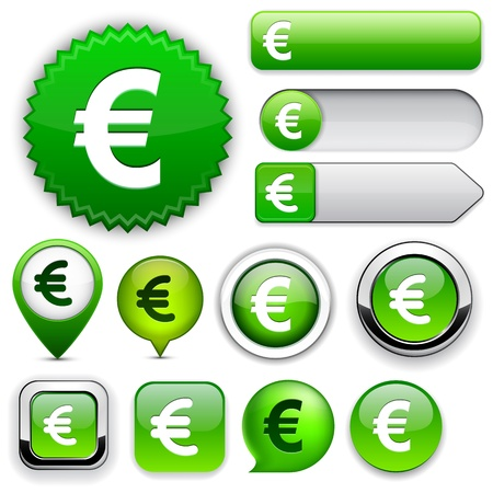 euro: Euro green design elements for website or app.