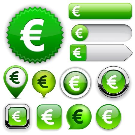 euro teken: Euro groen design elementen voor website of app.