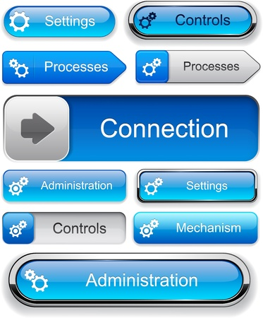 controls: Controls blue design elements for website or app  Vector eps10