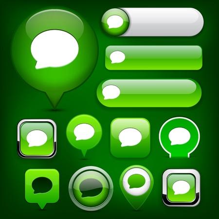 feedback label: Speech bubble green design elements for website or app  Vector eps10