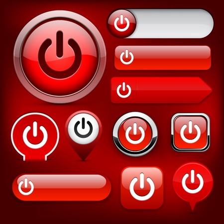 Power red design elements for website or app  Vector eps10  Vector