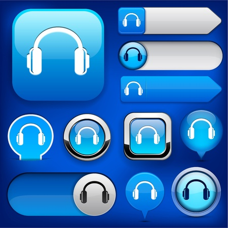 Headphones blue design elements for website or app  Vector eps10   Stock Vector - 12808565