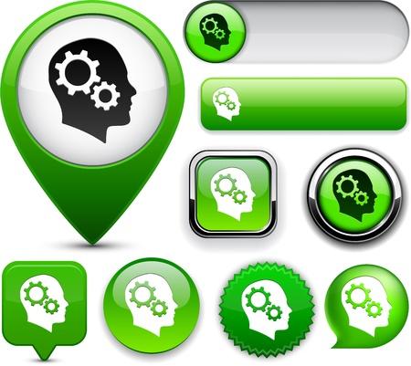 Pensando elementos de diseño vectorial verdes para sitio web o aplicación eps10